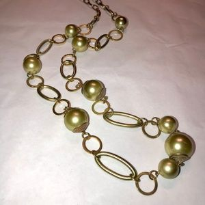 Faux Pearl long chain necklace